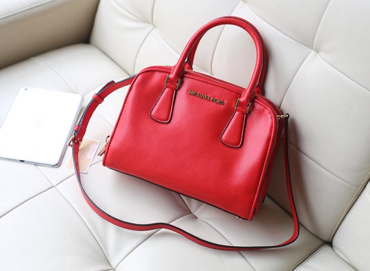 MK 2014秋冬新款双拉链贝壳包 大红色原版皮 女士手提包单肩包