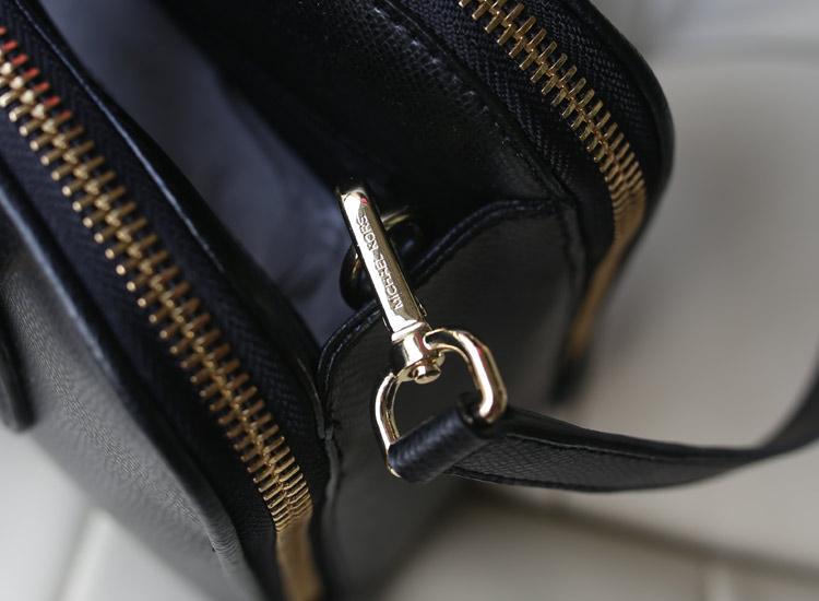 欧美时尚女包 MK秋冬新款 黑色双拉链贝壳包 原版牛皮手提单肩女包