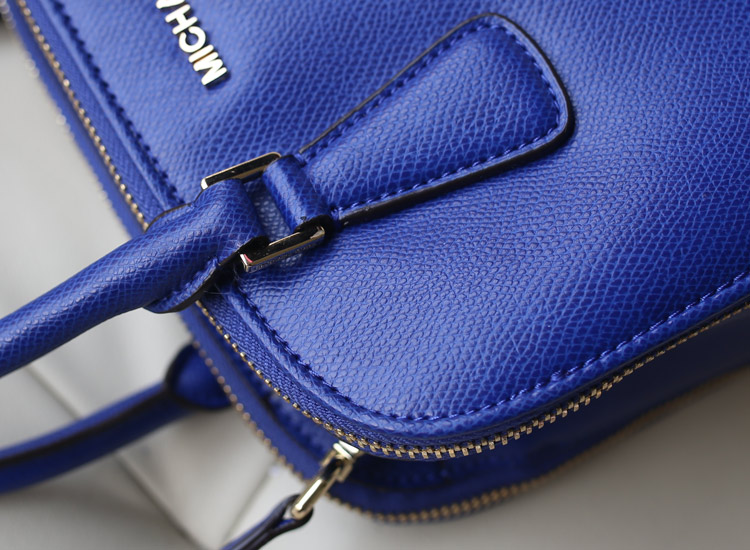 厂家直销 MK2014秋冬新款双拉链贝壳包 电光蓝 原版牛皮女士手提包