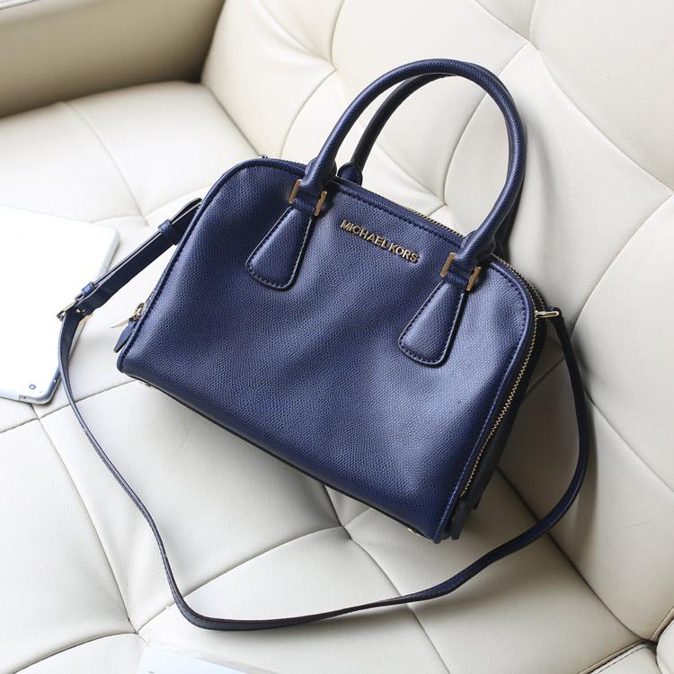 高仿包包批发 MK双拉链贝壳包原版牛皮女包 深蓝色 手提包单肩斜挎包
