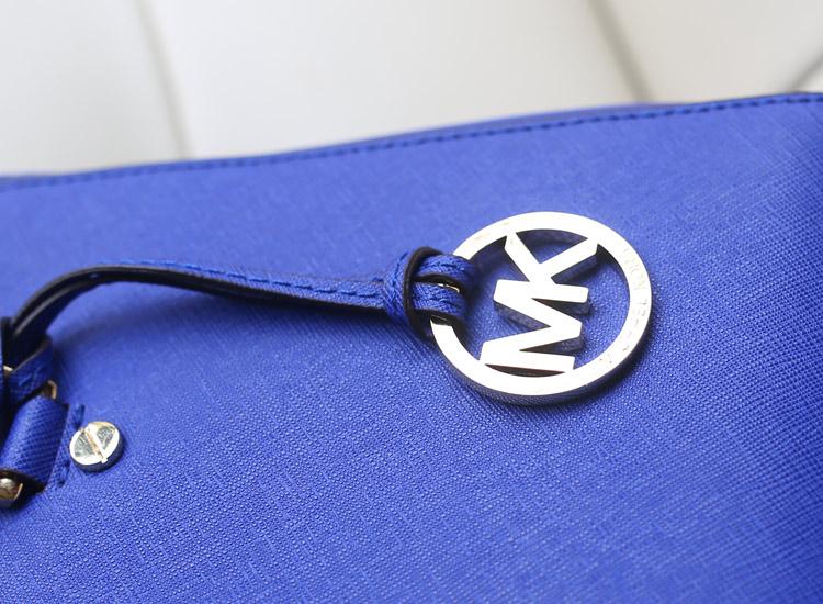 MK 秋冬新款杀手包 小号 进口十字纹牛皮双拉链手提女包 电光蓝