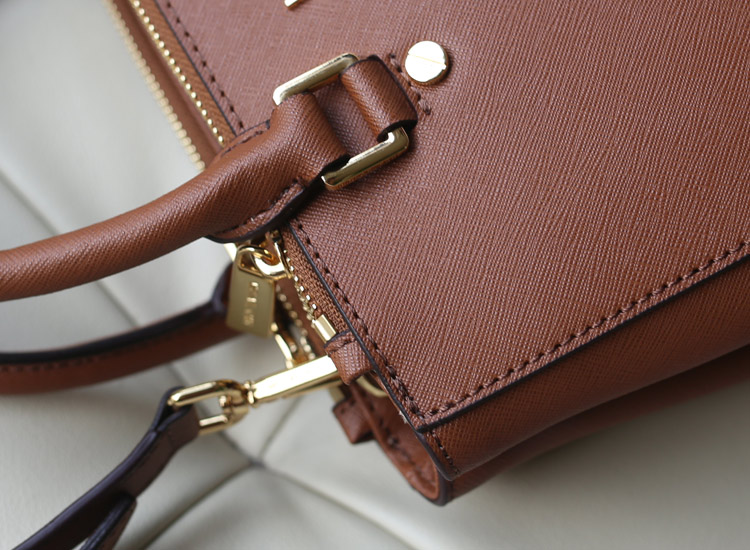 MK秋冬新款dressy/sutton杀手包小号咖啡色 十字纹牛皮女包手提包