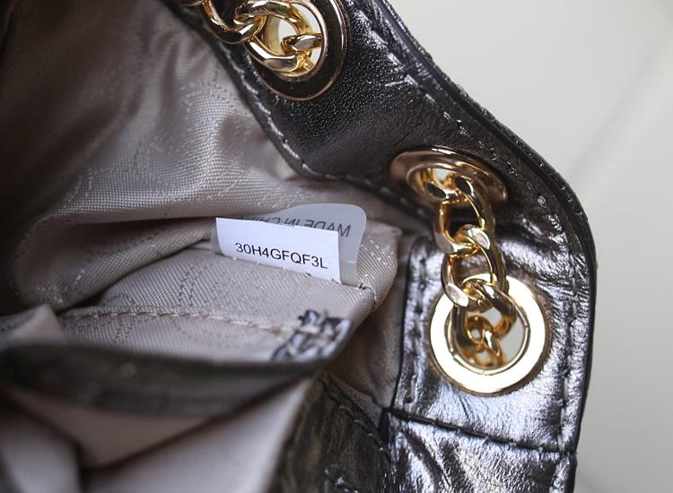 诚招代理 MK原版进口顶级羊皮 银色 链条单肩菱格包真皮女包