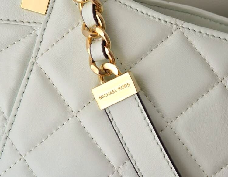 MK新款 顶级原版羊皮菱格包单肩女包 白色 时尚女士手挽单肩包
