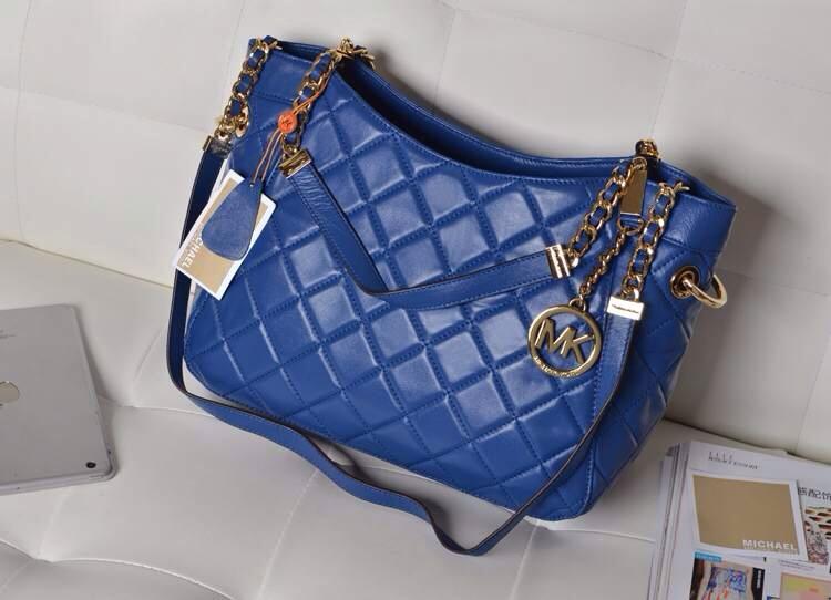 一件代发 MK原版羊皮菱格包 蓝色 链条女包单肩包真皮