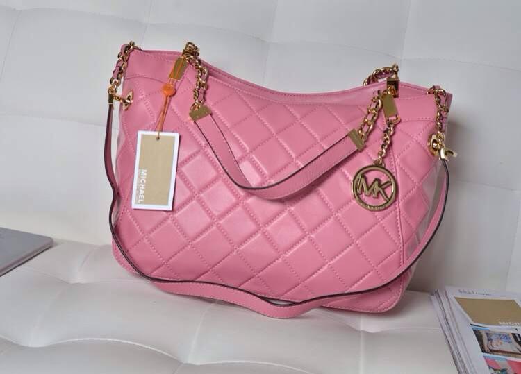 厂家直销 Michael Kors原版羊皮菱格包 粉色胎羊皮 女款链条单肩包