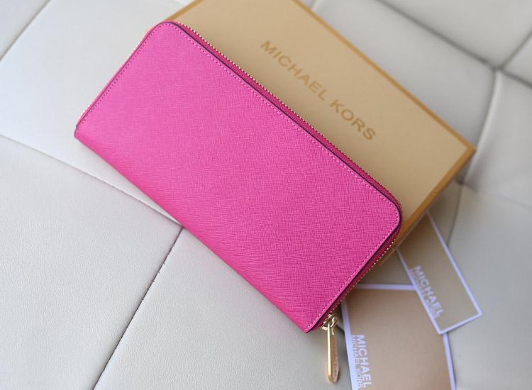 2014时尚新款钱包 MK原版十字纹牛皮镶钻拉链钱夹手包 玫红色