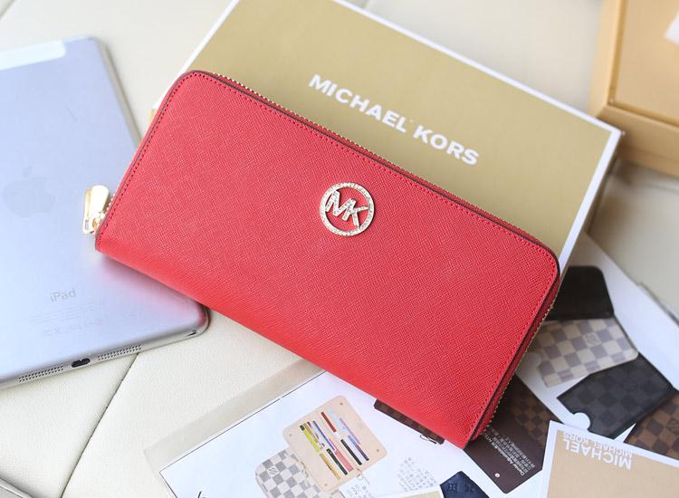Michael Kors 2014新款镶钻拉链钱夹 红色原版顶级十字纹牛皮女款钱包手包