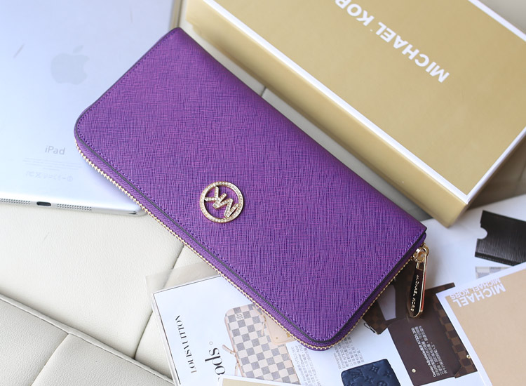 时尚欧美钱包 MK原版牛皮钱夹镶钻款 紫色 长款女钱包手包