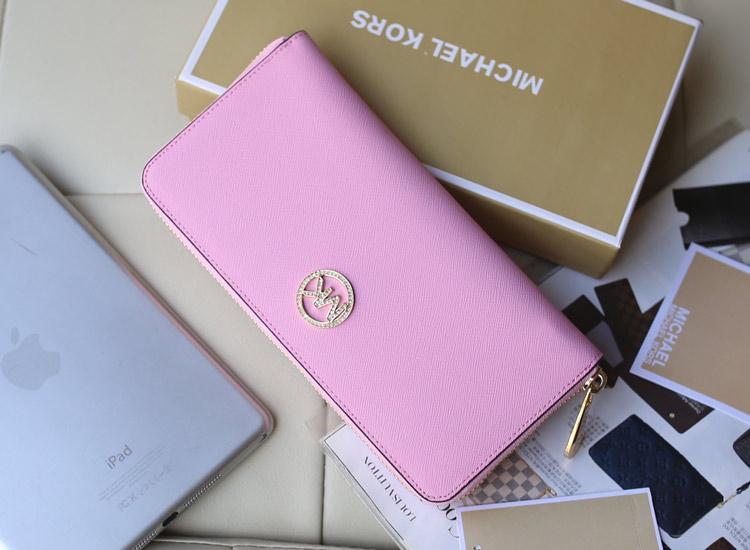 2014新款钱包 Michael Kors原版牛皮镶钻拉链长款女钱包手包 粉色