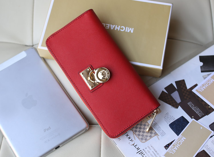 欧美品牌钱包 Michael Kors MK红色进口十字纹牛皮锁头长款钱包手包