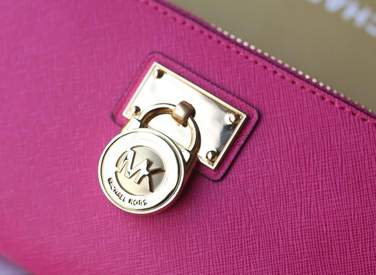 工厂直销 MK原版十字纹牛皮锁头钱包钱夹 真皮女士长款钱包手包 玫红色