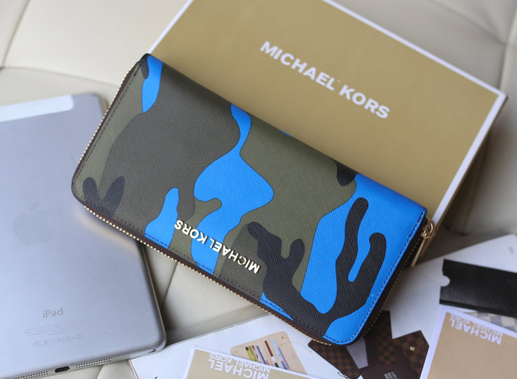 MK钱包批发 2014新款迷彩钱包 蓝色 原版十字纹牛皮长款拉链钱包钱夹