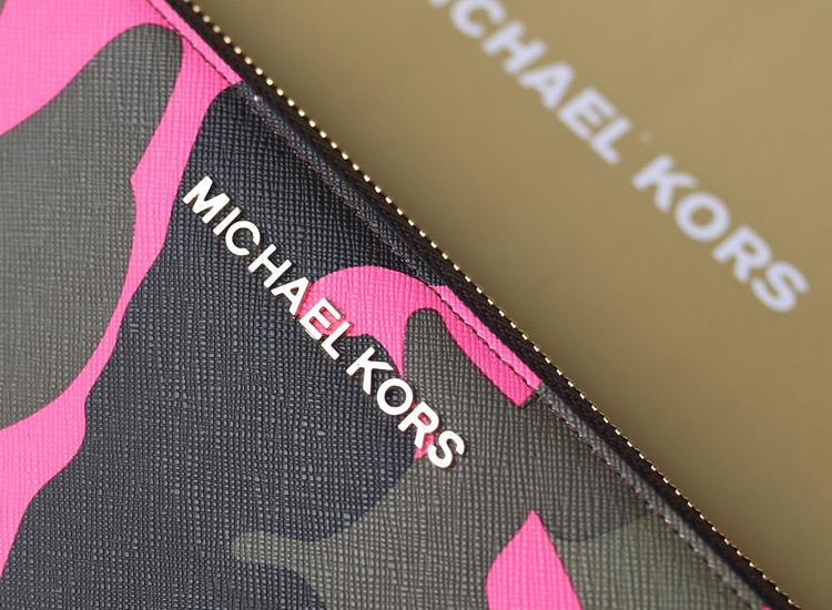诚招代理 MK新款迷彩系列钱夹 玫红色牛皮拉链钱包卡包手包真皮