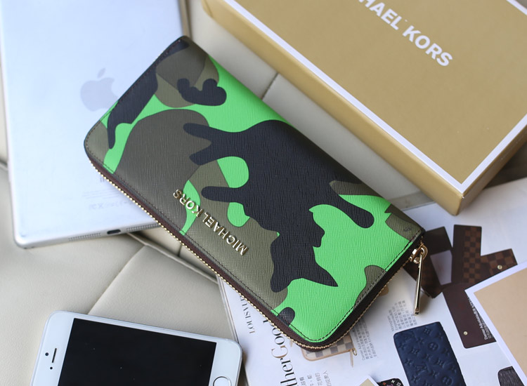 高档真皮钱包 MK顶级十字纹皮迷彩钱包绿色 时尚新款拉链长款钱夹