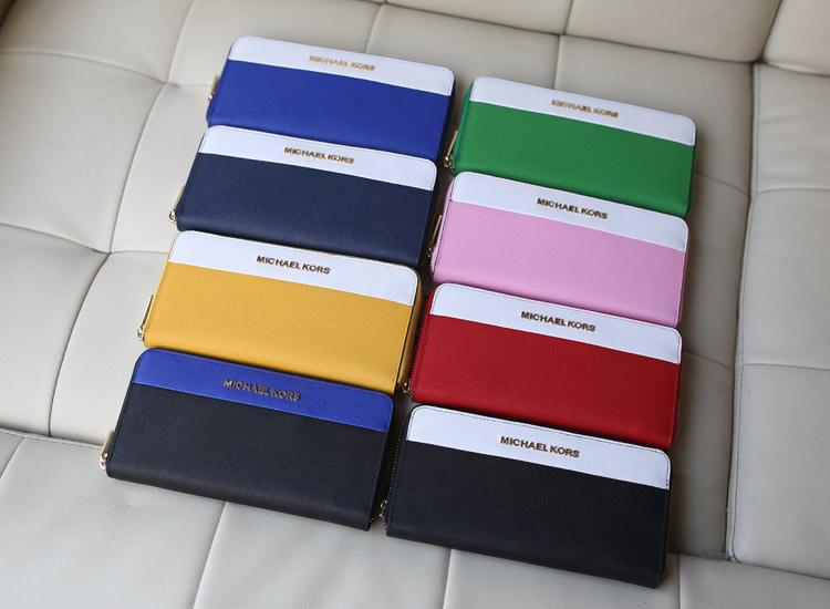 MK包包批发 进口顶级十字纹牛皮拉链钱夹钱包手包 粉色拼白色