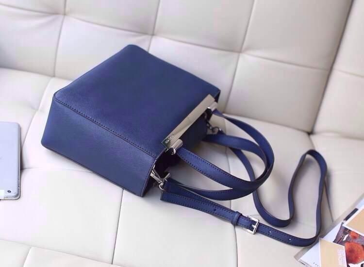 Michael Kors 2014专柜新款 宝蓝原版牛皮手提包铁夹款 单肩斜挎女包