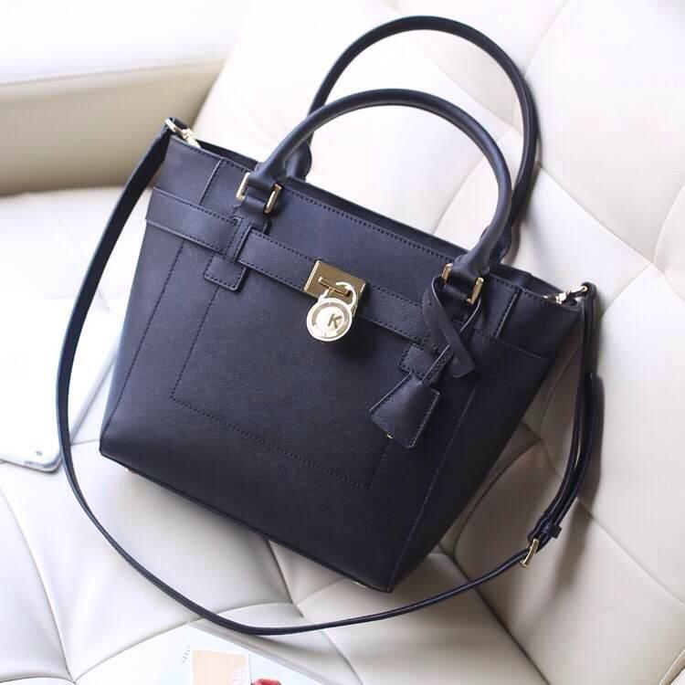 MK包包批发 黑色进口顶级十字纹牛皮 2014秋冬新款锁头包 真皮女包