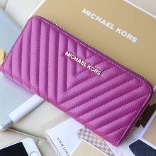 高档真皮钱包 欧美品牌MK原版顶级羊皮V型车线 紫色 拉链女钱包钱夹手包