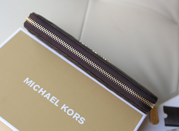 MK 2014秋冬新款V型车线羊皮钱夹 原版皮长款女士拉链钱包手包 黑色