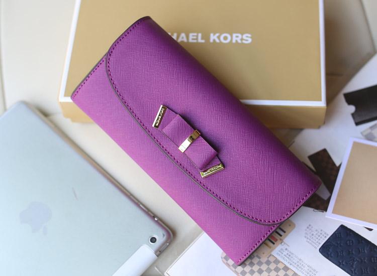 MK爆款女士钱包 原版顶级十字纹牛皮蝴蝶结钱夹 紫色长款搭扣钱夹手包