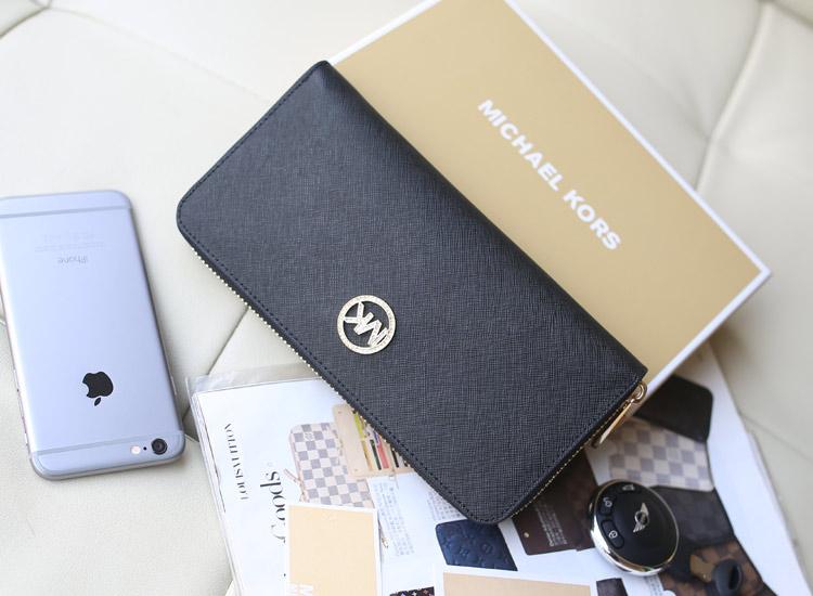 MK2014新款钱包 黑色原版进口十字纹牛皮镶钻拉链钱包 长款女士钱夹手包