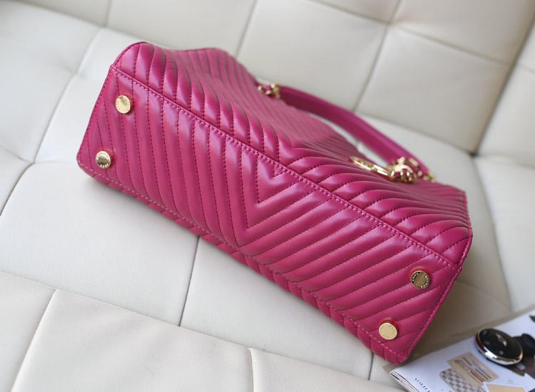 厂家直销 MK专柜同步新 玫红色原版进口羊皮托特包 女款链条单肩包购物包