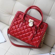 厂家直销 MK新款进口顶级羊皮菱格锁头包 高档女士手提单肩包 红色
