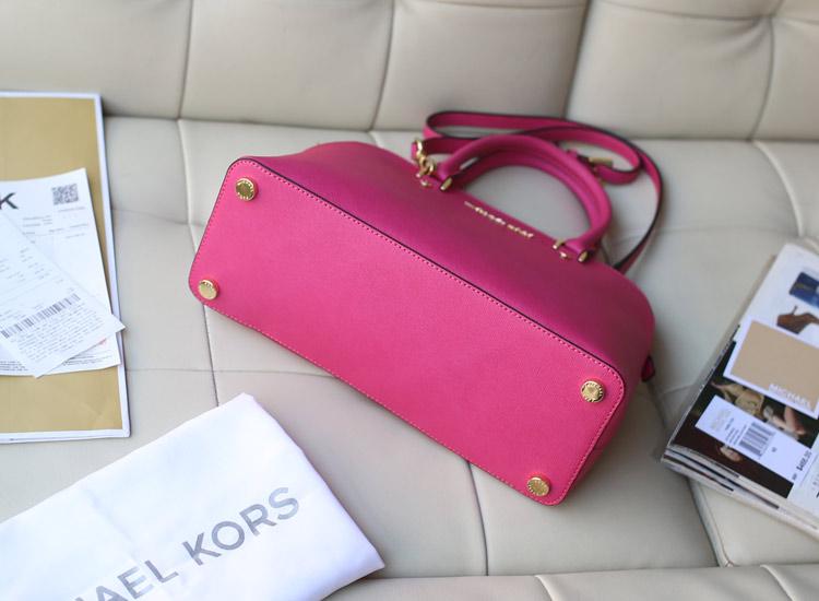 厂家直销 MK玫红色进口十字纹牛皮贝壳包中号 新款女士手提包单肩包33cm