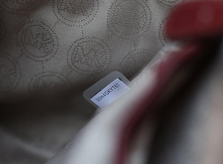 MK包包批发 Michael Kors MK新款车V线原版羊皮手提女包单肩斜挎包酒红色