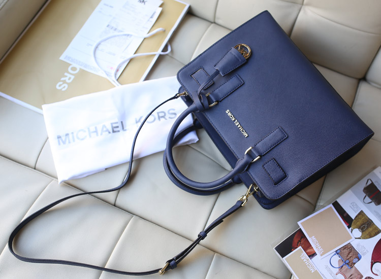 Michael Kors MK 2015秋冬新款深蓝色原版十字纹牛皮手提包 高档女包批发