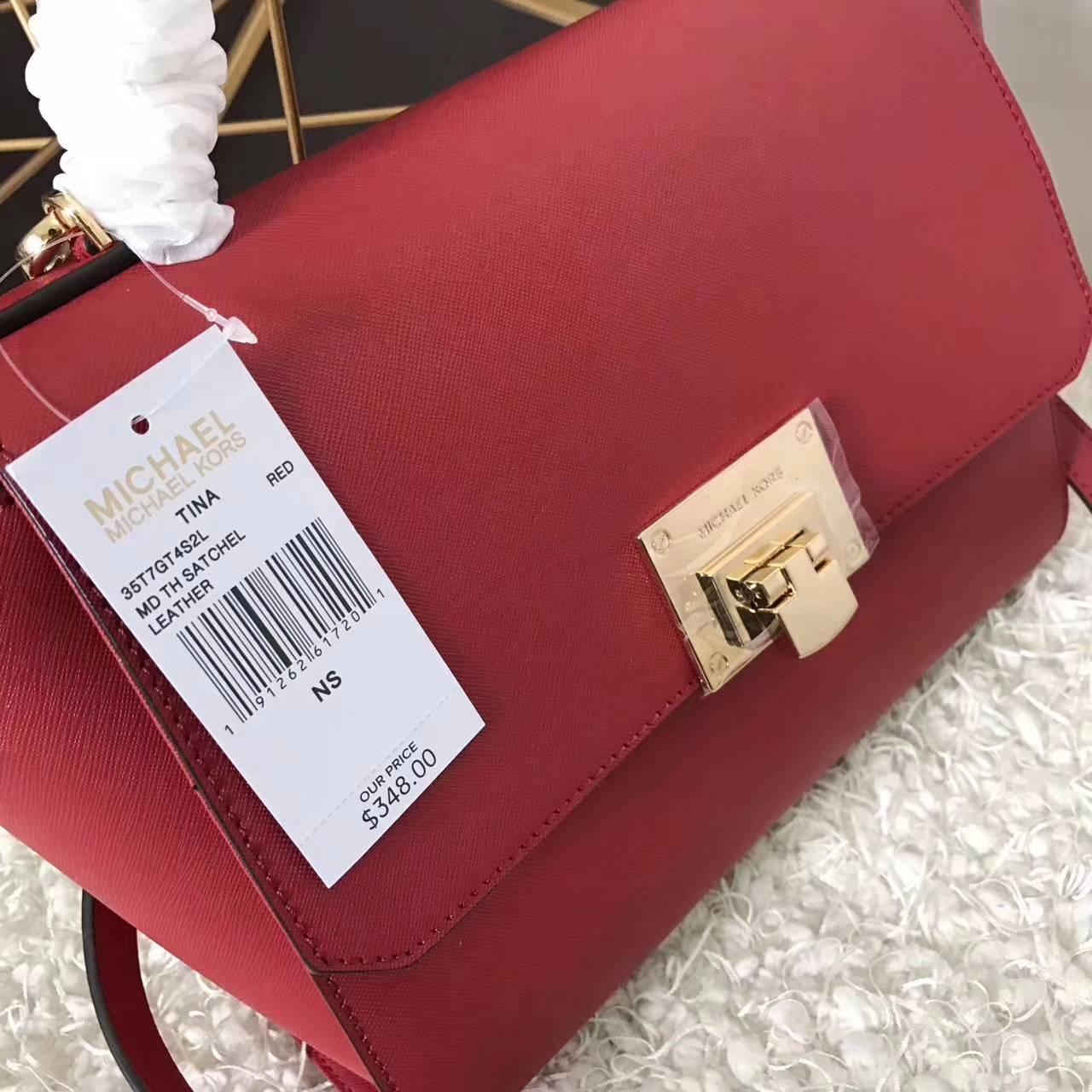 MK包包批发 迈克科尔斯新款耳朵包秋千包 大红色十字纹牛皮26CM