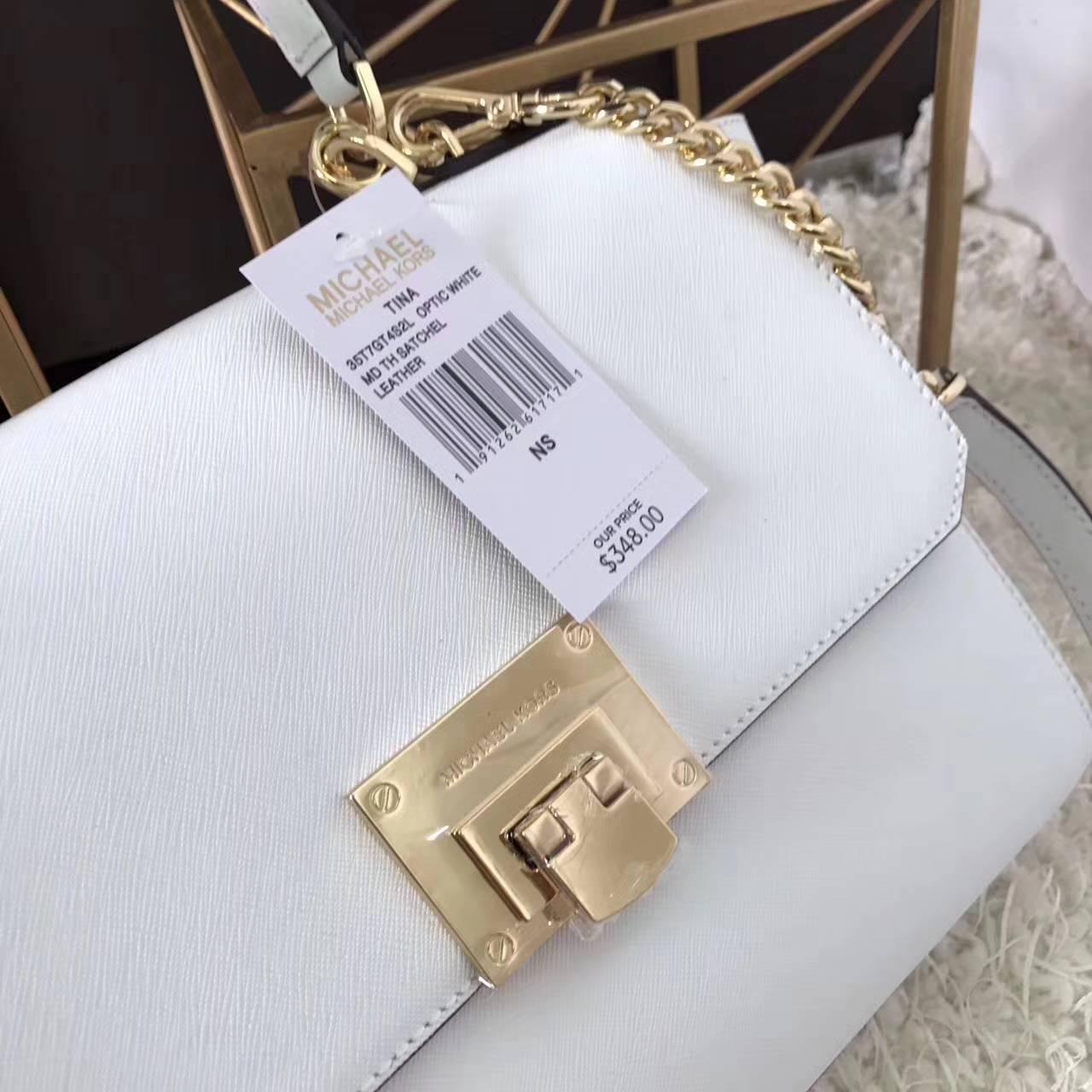 高档女包批发 MK迈克科尔斯新款白色十字纹牛皮秋千包女士手提包26CM