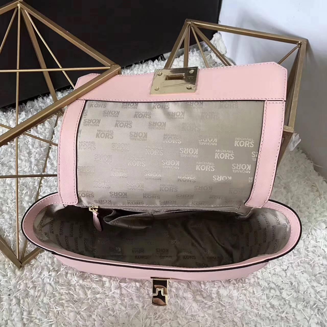 MK包包价格 迈克科尔斯原单十字纹牛皮耳朵包新款女包 粉色26CM