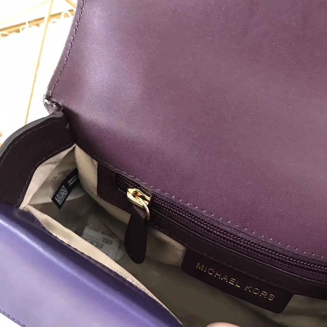 MK原单女包 迈克科尔斯2017年新款拼色手提信封包 紫色进口纳帕牛皮24CM
