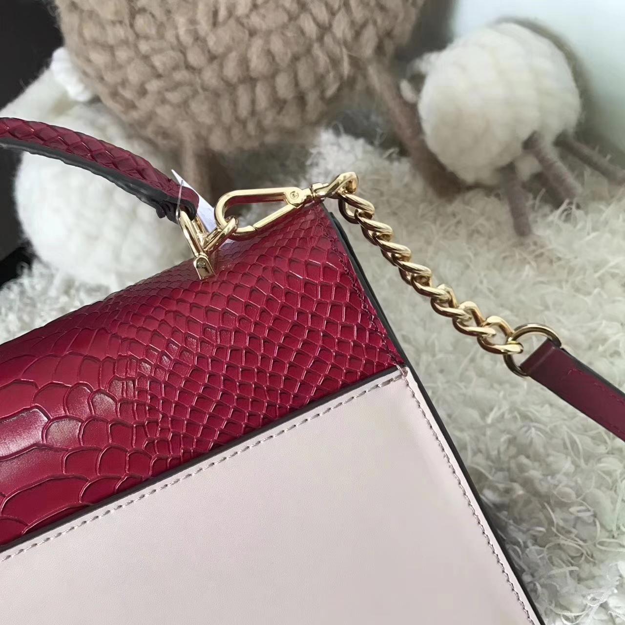 MK2017新款包包 迈克高仕原单纳帕牛皮信封包手提包24CM 粉色拼色