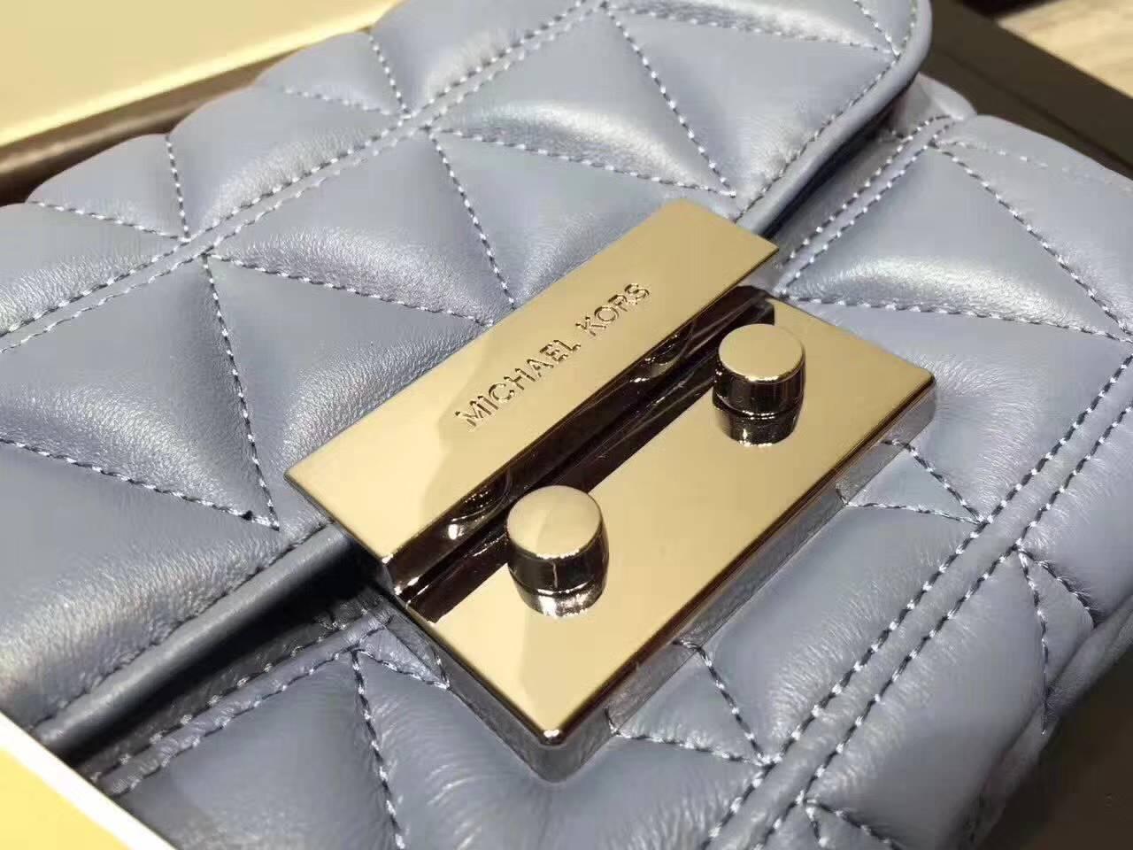 真皮包包批发 MK秋冬新款女包 迈克科尔斯蓝色原版羊皮包小号21CM