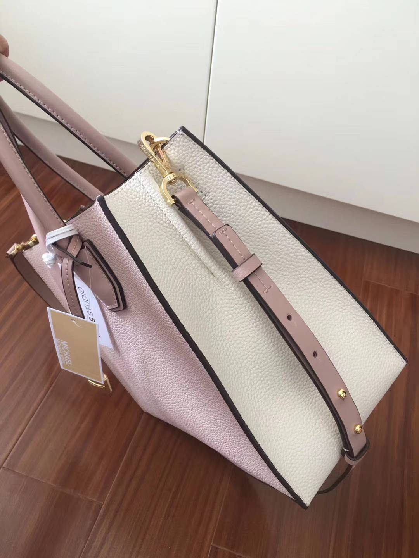 MK新款包包 迈克科尔斯粉色拼白色杨幂同款Mercer手提包斜挎包