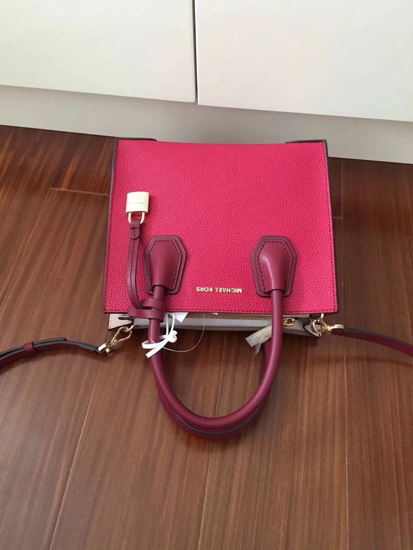 迈克科尔斯包包价格 MK原单杨幂同款Mercer锁头包手提女包 玫红色拼