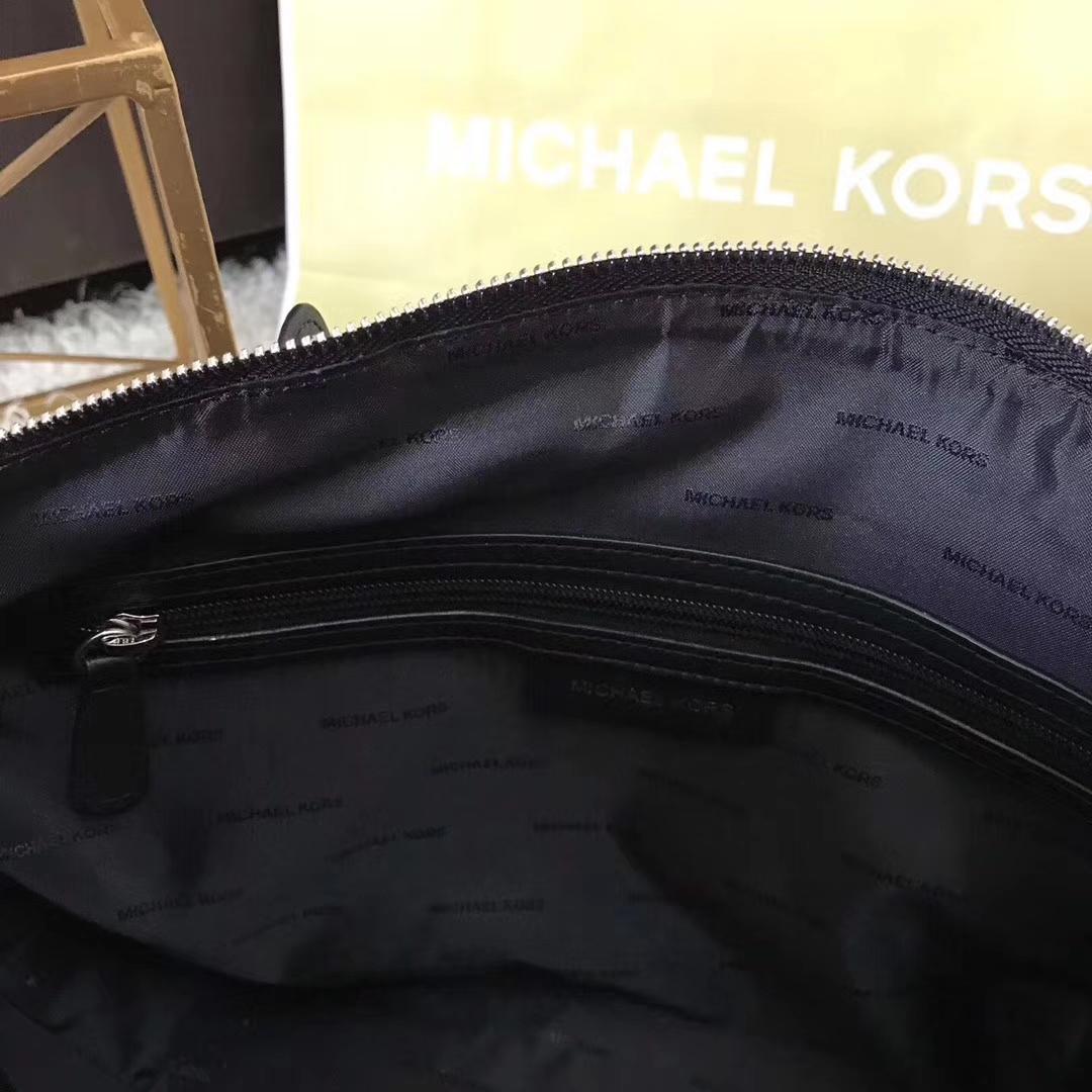 MK2017年秋冬新款饺子包 迈克科尔斯黑色进口纳帕牛皮编织链条女包