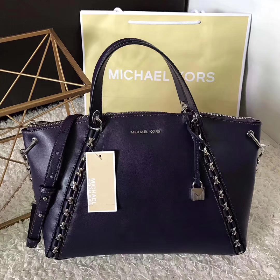 MK包包价格 迈克科尔斯进口纳帕牛皮编织链条手提单肩女包35CM 紫色