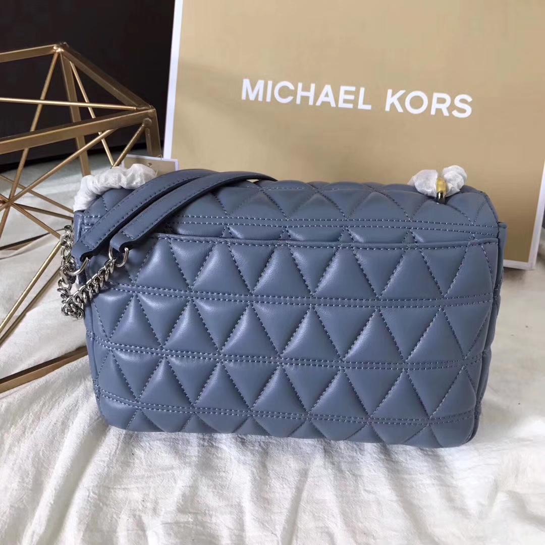 厂家直销 MK迈克尔高仕原版三角纹羊皮包链条单肩女包大号27CM 蓝色
