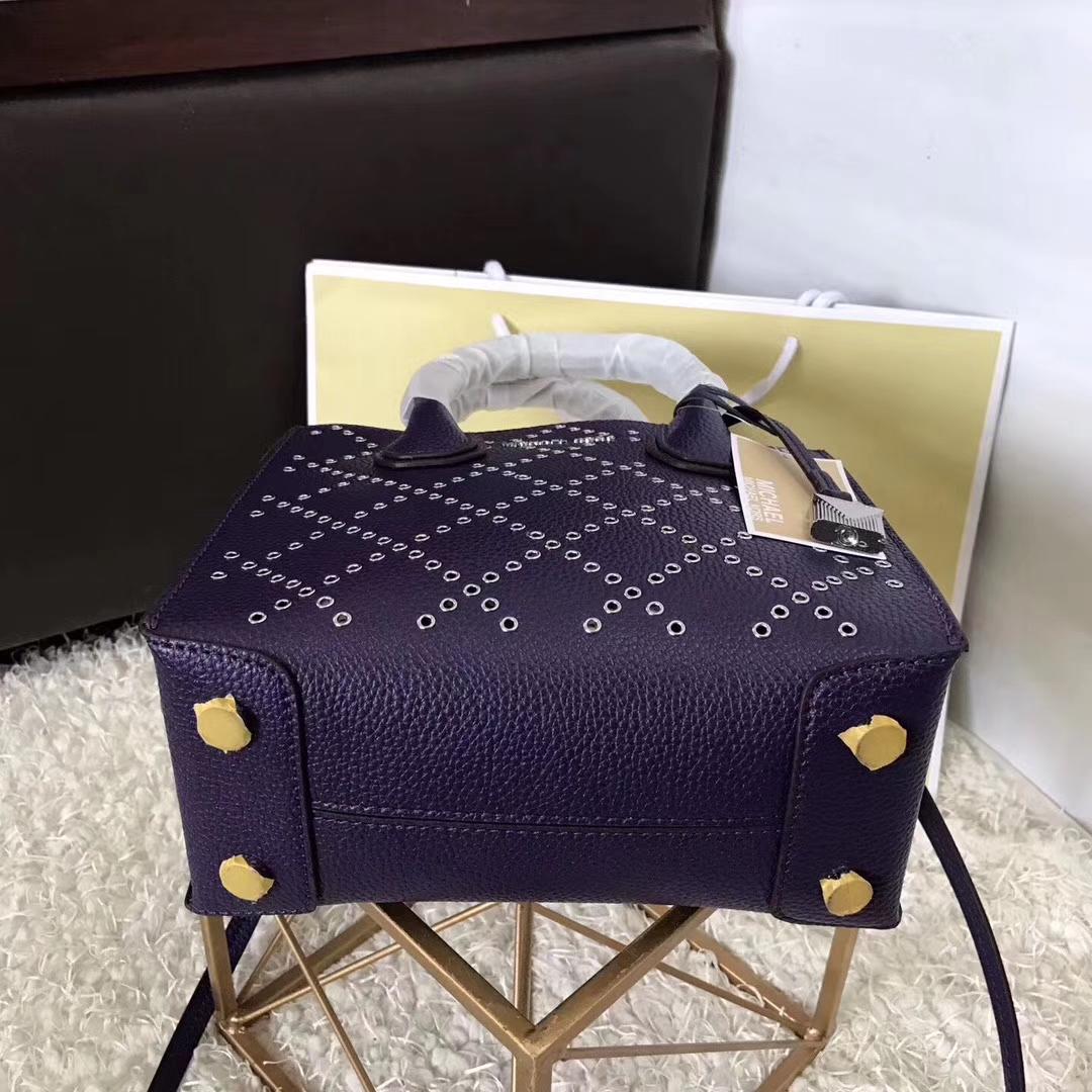 厂家直销 MK迈克高仕紫色镂空穿孔荔枝纹牛皮Mercer手提包锁头包