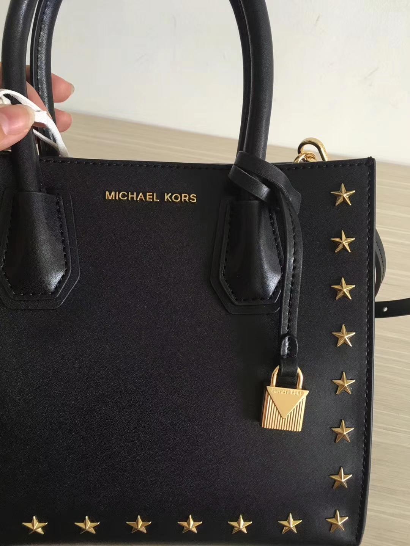 MK包包批发 迈克科尔斯杨幂同款纳帕牛皮五角星款Mercer手袋单肩包 黑色