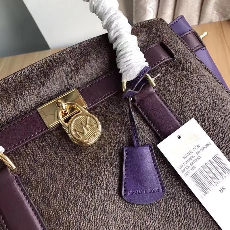 MK包包官网 迈克高仕新款紫色拼色锁头包笑脸包手提单肩女包29CM