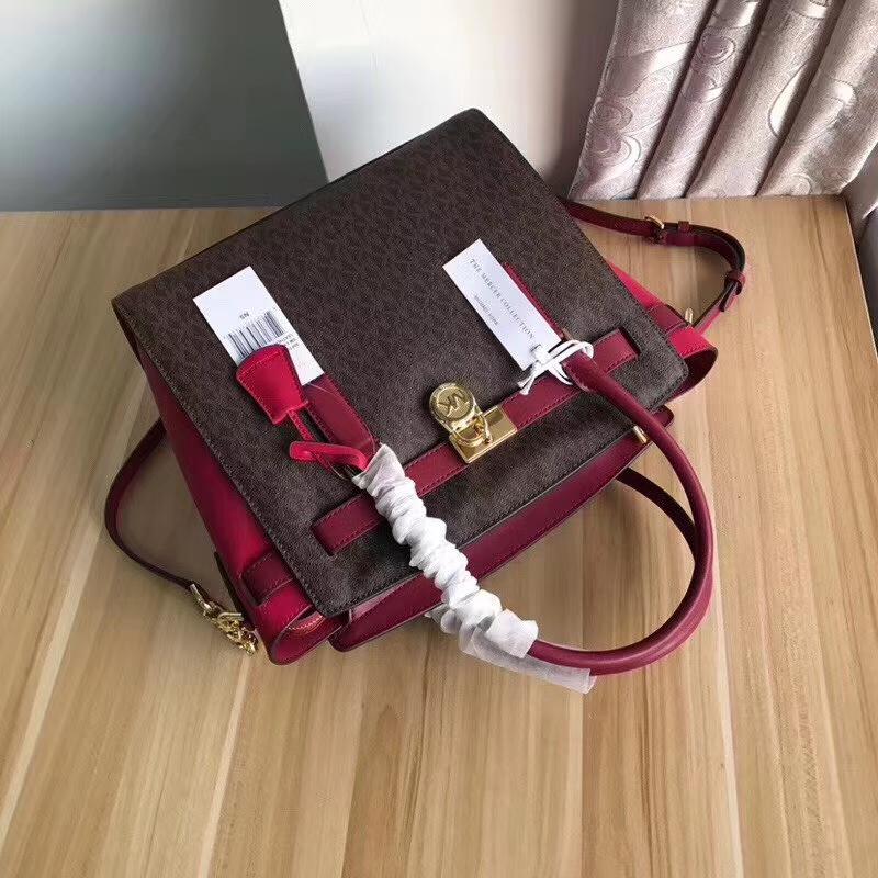 高档女包批发 MK迈克科尔斯拼色锁头包手提女包29CM 酒红色拼