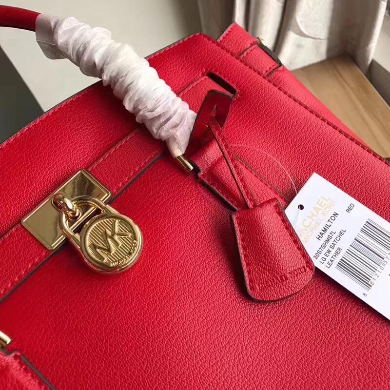 迈克科尔斯包包官网 MK纯原大红色山羊纹牛皮手提锁头包新款女包