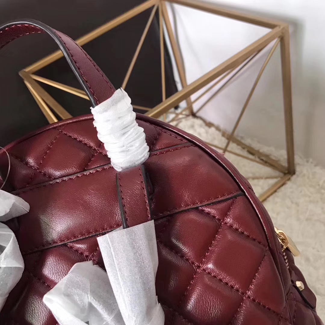 迈克科尔斯官网 MK新款酒红色进口牛皮菱格纹双肩包女士背包27*31cm