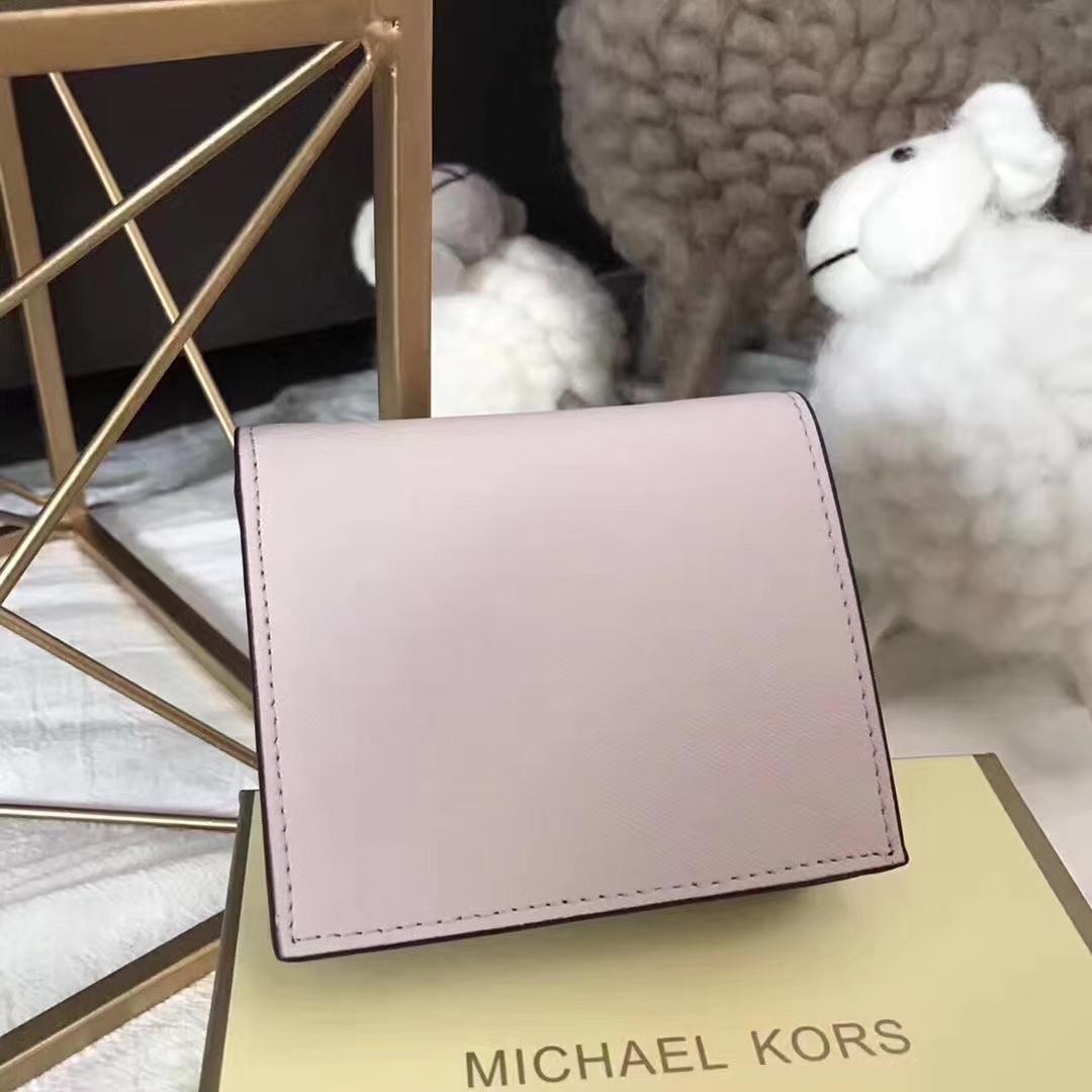 MK钱包批发 迈克尔高仕进口十字纹牛皮MK短款吸扣钱包 粉色