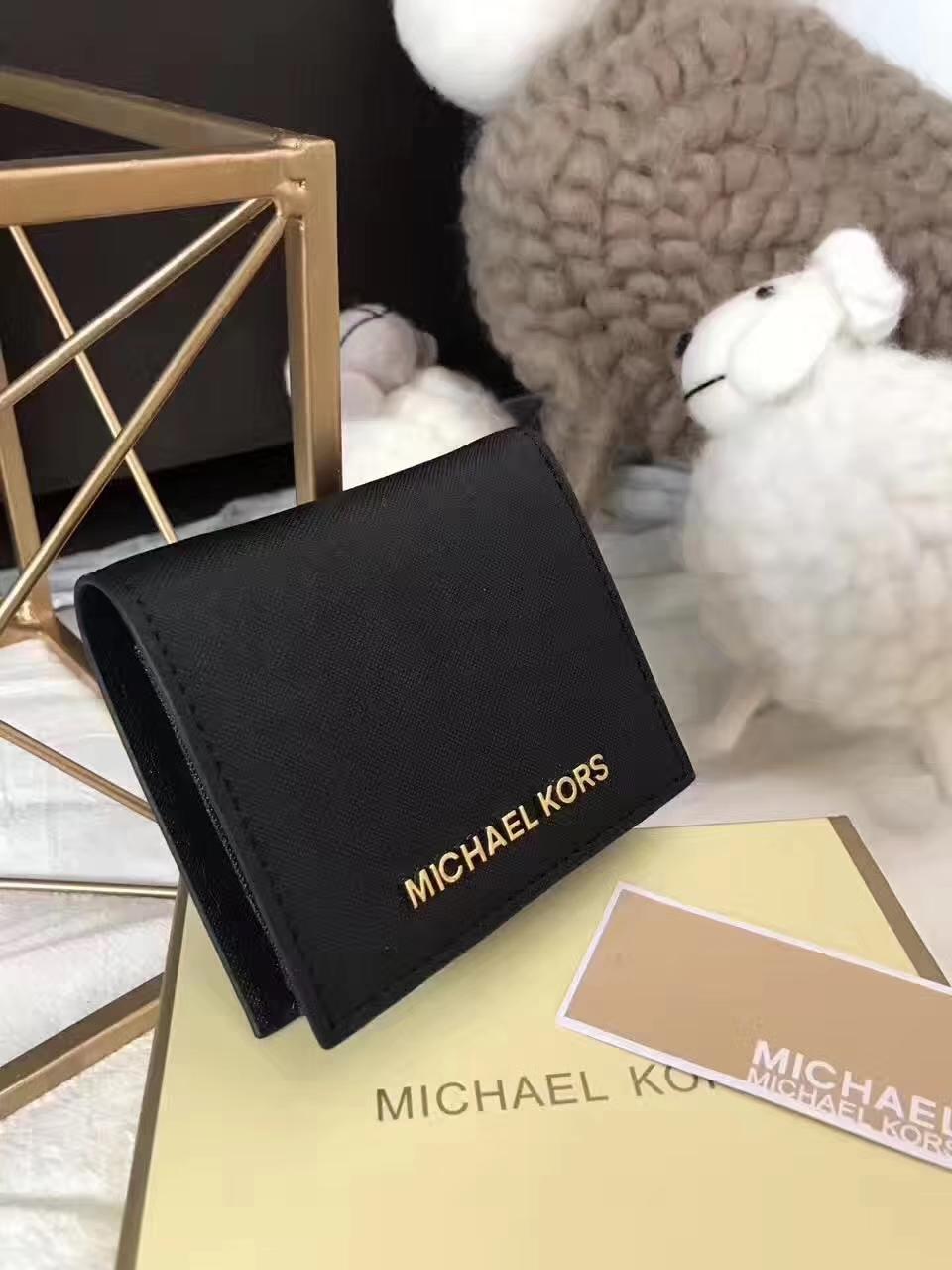迈克尔高仕钱夹 MK原版十字纹牛皮吸扣短款钱包卡包 黑色